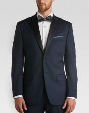 Satin Lapel classic Slim Fit Tuxedo With flat-front Pants Navy