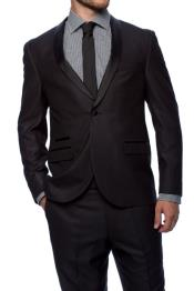 Button Slim Fitted Shawl Tuxedo Black