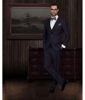 2-Button Vested 3 Pieces Slim Fitted Cut Skinny Lapel Wool Suit