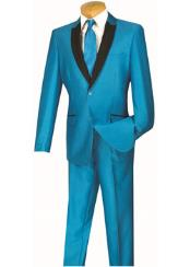 Slim Turquoise ~ Aqua and Sky ~ Baby blue and Black Lapel Suit Tuxedo Dinner jacket Blazer