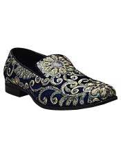 Mens Gold & Silver Embroidered Design Slip On Style Smoker Blue Dress