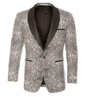 Tuxedo Modern Fit Black / White Tonal Snake Pattern Blazer Sport Coat Shawl Collar