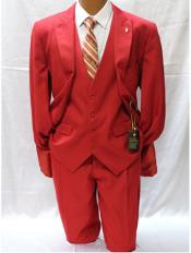 Falcone Vett Red Classic Fit Solid Vested Suit