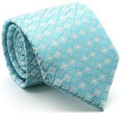 Premium Triple Square Pattern Ties Turquoise