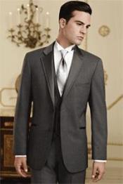 Mens Charcoal Grey~Gray Tuxedo Vested 3 Piece Wedding Suit