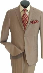 Mens True Slim Suit in Popular Tone on Tone Fabric Stone