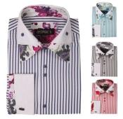 Floral Fashion Stripe 4 Colors Style Mens Dress Shirt