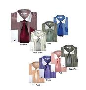 Striped Dress Shirt with Tie Handkerchief Cuff Links White Collar Two Toned Contrast -white Collars Multi-Color