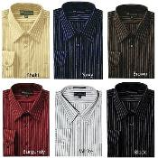 Stylish Contrast Stripes Style Multi-color Mens Dress Shirt
