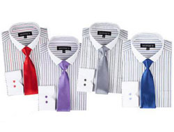 Striped From George Slim Tie White Collar Two Toned Contrast Multi-color Mens