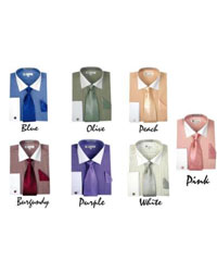 Striped w/ Tie And Handkerchief French Cuff Style White Collar Two Toned Contrast Multi-Color Mens Dress Shirt