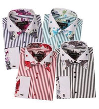Striped Shirt with Foral Print Design Lots Colors French Cuffs Multi-Color