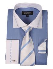 with White Collar and French Cuf BlueGold Mens Dress Shirt