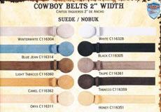 "Genuine Suede/Nobuk Cowboy Western Belts 2"" Width All Sizes"