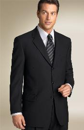 Solid Jet Black Mens Suits Three buttons style Super 150s premier
