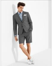 summer business suits with shorts pants set (sport coat Looking) Grey