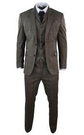 Mens 3 Piece checkered check pattern Tweed Herringbone Elbow Patch Vintage Slim Fit Tan And Brown Suit