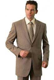Polyester/Wool Touch Mens Classic affordable suit online sale Tan ~ Beige
