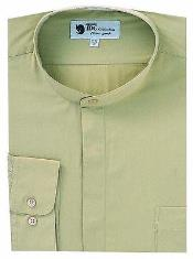 Tan collarless dress shirt