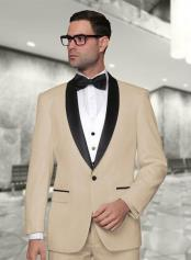Statement Confidence Mens 3 Piece Modern Fit Shawl Collar Khaki ~ Tan Vested Tuxedo