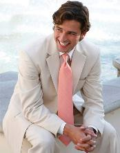 Light Tan ~ Beige 2 Button Wedding Suit