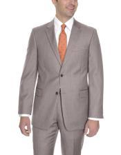 Mens Tan  2 Button Wool Classic Fit Suit Flat Front Pants