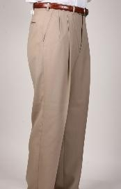 Tan ~ Beige Parker Pleated Pants Lined Trousers unhemmed unfinished bottom
