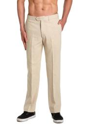 Mens Dress Pants Trousers Flat Front Slacks Natural Tan