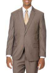 Mens 2 Button Tan / Taupe Ton on Ton Shadow Pinstripe Vested