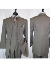 Landi 2917v Mens  6 Paired Buttons Taupe Wide Matching Vested Suit
