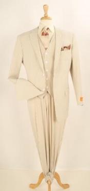3 Piece Vested Seersucker Sear sucker suit - Pleated Pants Tan