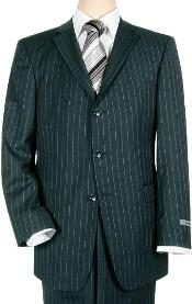 Navy Blue Pinstripe Three Buttons Style suit Super 140s 100% Wool Mens