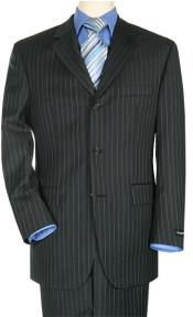 quality italian fabric Black Pinstripe Super 140s 100% Wool Three ~