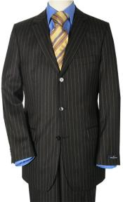Black Small Pinstripe premier quality three buttons Suit style italian fabric