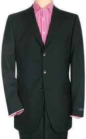 Power Black Solid Black With Sheen Super 150s Mens Cheap Priced Business Suits Clearance Sale Side Back