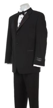 Super 120s Wool Feel Light Weight Soft Poly-Rayon Tuxedo Suit + Shirt + Bow Tie + Vest