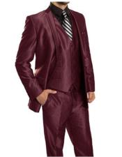 Mens  Sharkskin Burgundy ~ Wine ~ Maroon Suit vested Cheap Priced