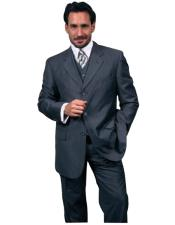 Dark Navy Blue With Smooth Pinstripe 3 Piece Vested Business Suits