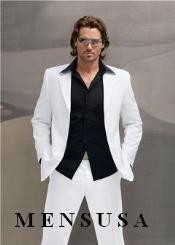 Snow All White Suit For Men + Free Black Shirt (As Pictured)