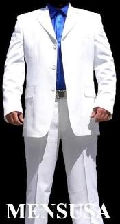 Mens All White Suit For Men Joun Paul 3 Buttons Super Cool