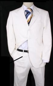 3 Button White Suits