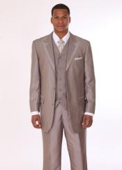 Mens 3 Piece 3 Button Fashion Suit with 2 Tone Lapels Tan