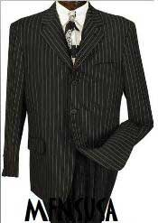 MU99 Mens Jet Black & Chalk Bold White Pinstripe Suit Party