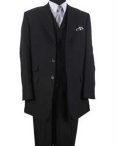 Mens Black 100% Poly Poplin Ticket Pocket Suits