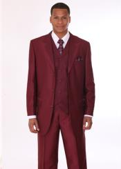 Mens 3 Piece Fashion Suit with 2 Tone Lapels Burgundy ~ Maroon