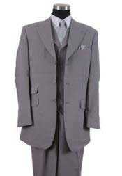 Mens Three Piece Suit - Vested Suit Mens Gray Double side-vented back