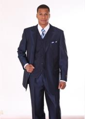 Mens 3 Piece 3 Button Fashion Suit with 2 Tone Lapels Dark
