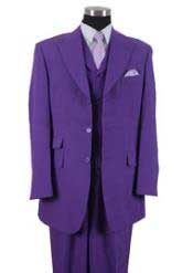 Mens Three Piece Suit - Vested Suit Mens Purple Double side-vented back
