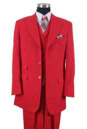 Poplin Three button Red Jacket ~ Wide Leg Mens Peak Lapel