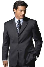 Black On Black Shadow Pinstripe Super 140s 100% Wool Three - 3 Buttons style Mens Suits $199